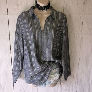 Chico's Linen Blend striped tunic blouse